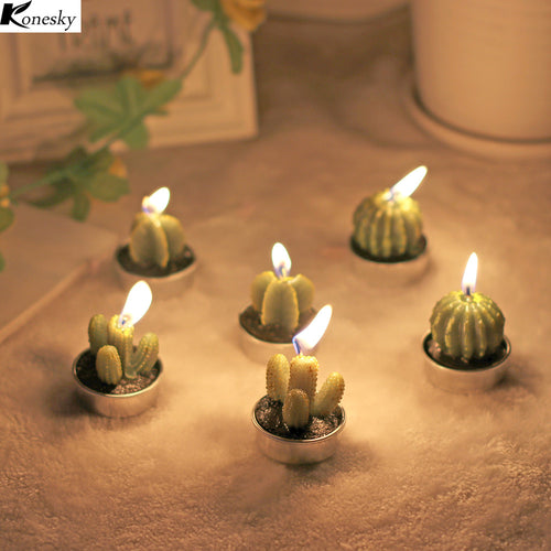 New 6PCS/Set Home Decor Rare Mini Cactus Candle Night Light Table Tea Light Home Plant Candle Decorative Wedding Candles