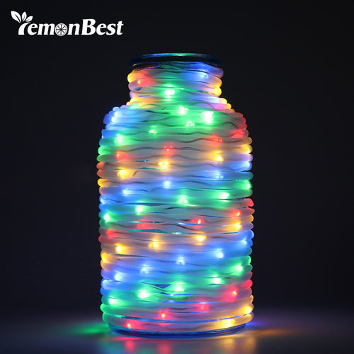 Waterproof Rope String Lights 10m 72-LED Fairy Lamp Outdoor Garden Christmas Wedding Decoration Garland 8 Modes with Remote