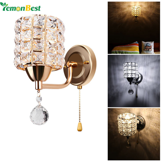 Modern Style Wall Lamp Cylinder Crystal Wall Light Holder with Pendant and Pull Switch AC 85-250V E14 Socket