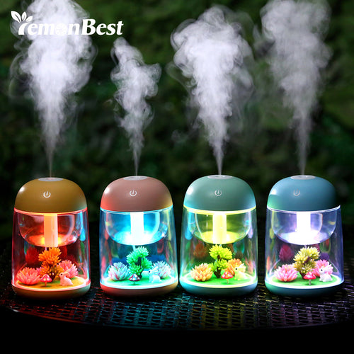 LED Night Light with 180ml Micro Landscape Humidifier Ultrasonic USB Mist Maker Mini Air Purifier Nebulizer Office Decorations