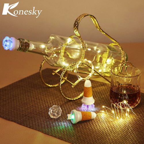 USB10-LED Bottle Stopper Light Copper Wire String Lights with Crystal Diamond Colorful Lighting for Glass Craft   Wedding Lamp