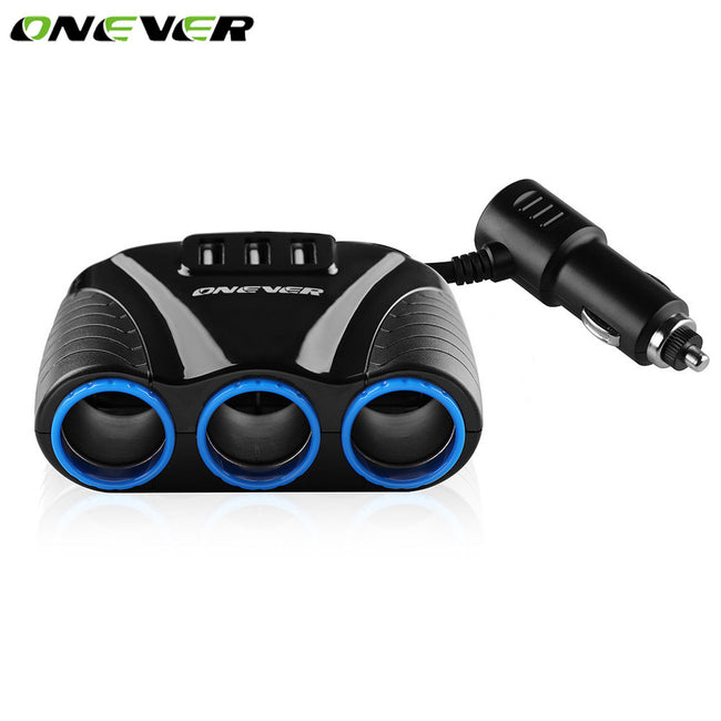 Onever 12V-24V Universal Car 3 Sockets Splitter Cigarette Lighter Socket 3 Ports USB Charger Power Adapter for iPhone iPad DVR
