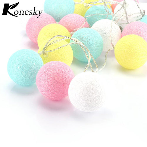Colorful Cotton Ball 20-LED String Light Warm White Lamp Decoration Battery Operated for Christmas Garden Home Holiday Party