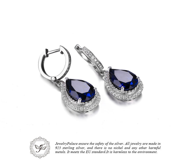 Jewelrypalace Solid 925 Sterling Silver Luxury Pear Cut 12.4ct  Blue Created Sapphire Dangle Earrings Fine Jewelry for Women