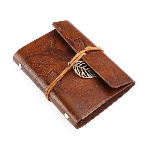 Vintage Style Leaf Leaves Pattern PU Cover Loose-leaf String Bound Blank Notebook Notepad Travel Journal Diary Jotter (Brown)