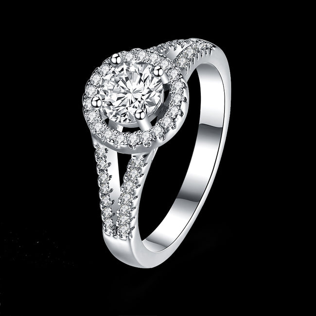925 Sterling Silver Ring SVR129, a wholesaler of double-wire round stone-inlaid rings