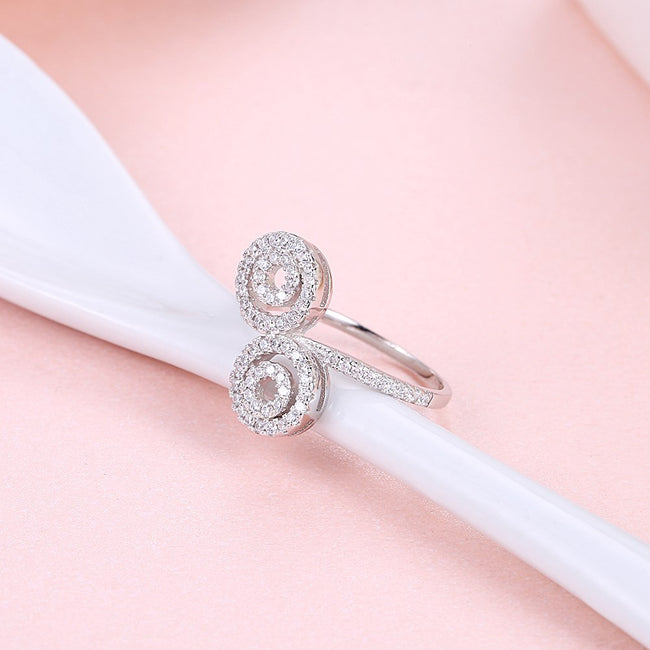 925 Sterling Silver Ring Fashion trend female pure silver eight shaped zircon ring SVR199