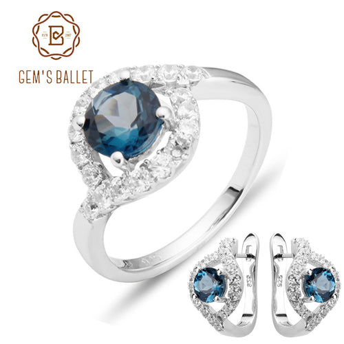 GEM'S BALLET Natural London Blue Topaz Gemstone Rings Clip Earrings Genuine 925 Sterling Silver Fine Jewelry Set For Women Gift