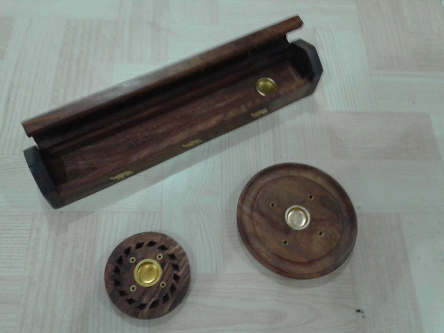 Desi Karigar Wooden Incense Box + Incense & Candle Stand + Incense Plate - Pooja Accessories