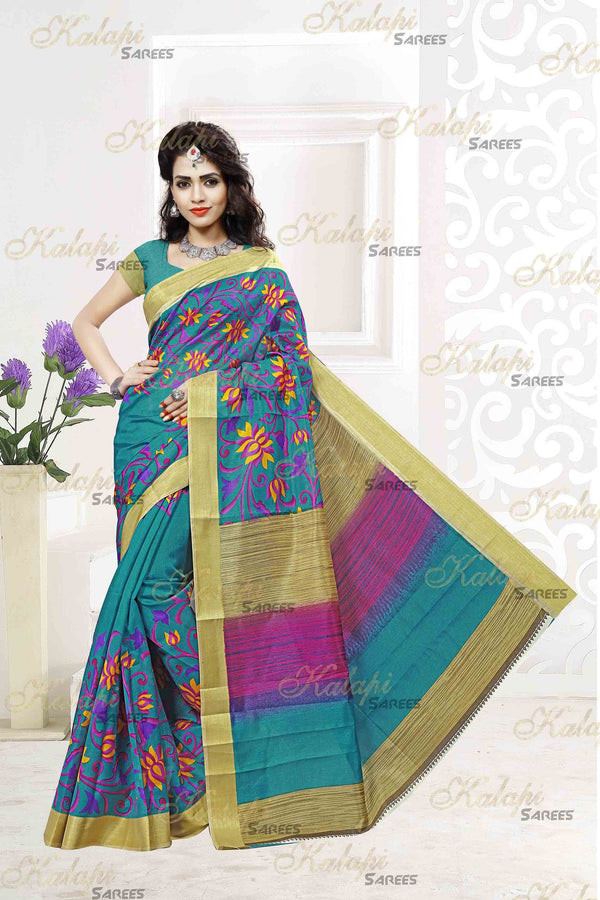 Multicolor Printed Cotton Silk Saree Wiith Blouse