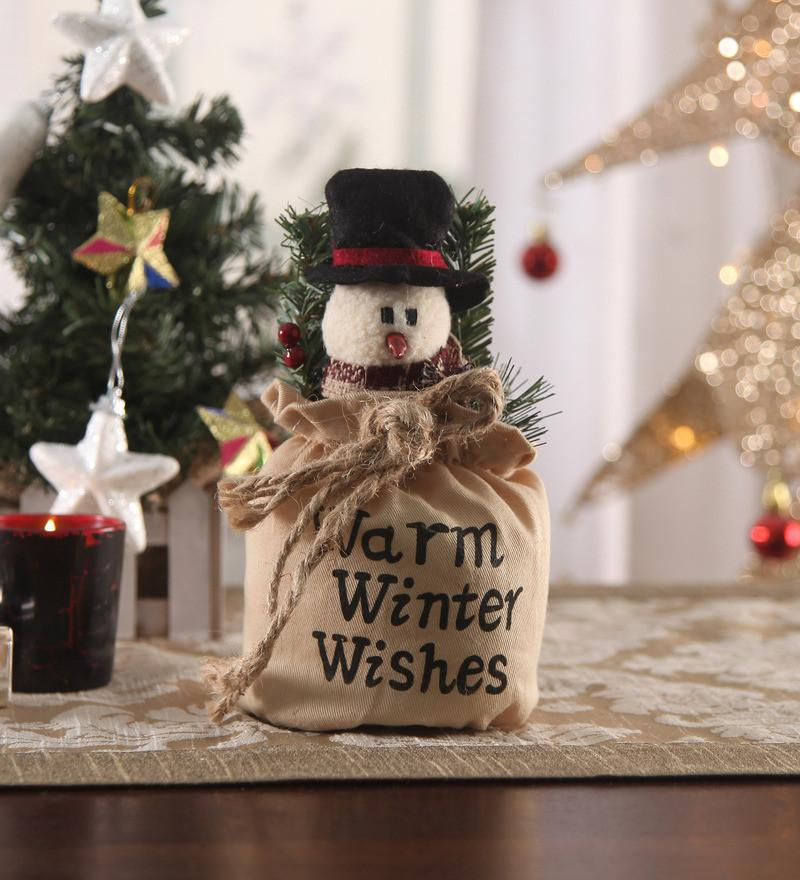 Christmas Snowman in Pouch Cloth Jute Gift Showpiece