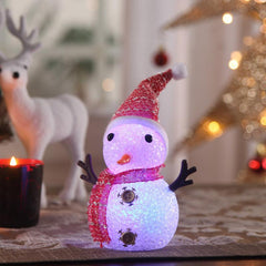Acrylic Showpiece Christmas LED Snowman - Red