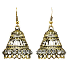JewelMaze Antique Gold Plated Austrian Stone Jhumki Earrings