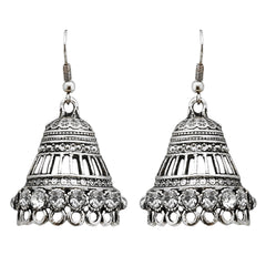 JewelMaze Rhodium Plated Austrian Stone Jhumki Earrings