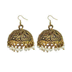 JewelMaze White Beads Antique Gold Plated Jhumki Earrings