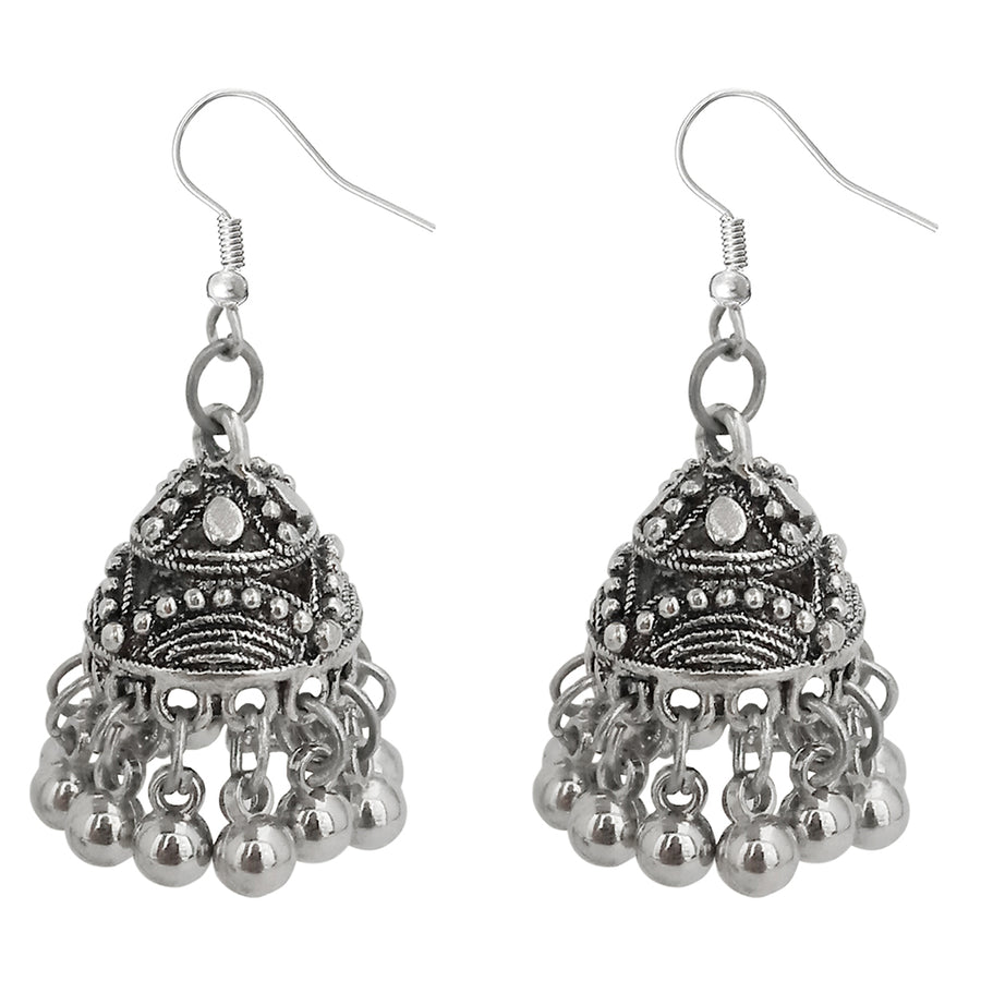 JewelMaze Silver Beads Oxidised Jhumki Earrings