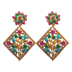 JewelMaze Austrian Stone Gold Plated Dangler Earrings