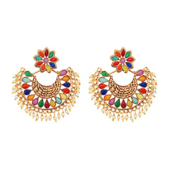 JewelMaze Multi Pota Stone Gold Plated Chandbali Earrings