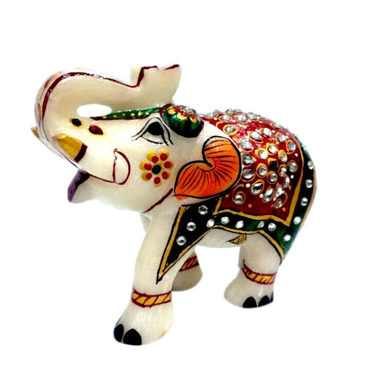 Elephant 4 inch decorated with multicolored stones