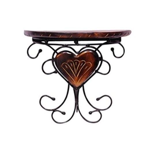 Desi Karigar Wooden & Wrought Iron Fancy Design Wall Bracket/Rack