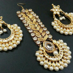 Designer Beads Earrings With Maangteeka