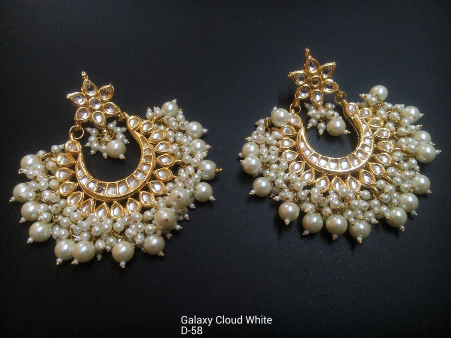 Designer Beads Galaxy Cloud White Earrings