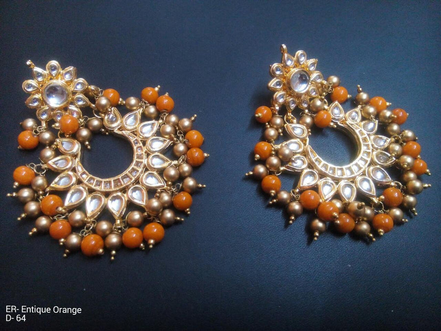Designer Beads Antique Orange Earrings