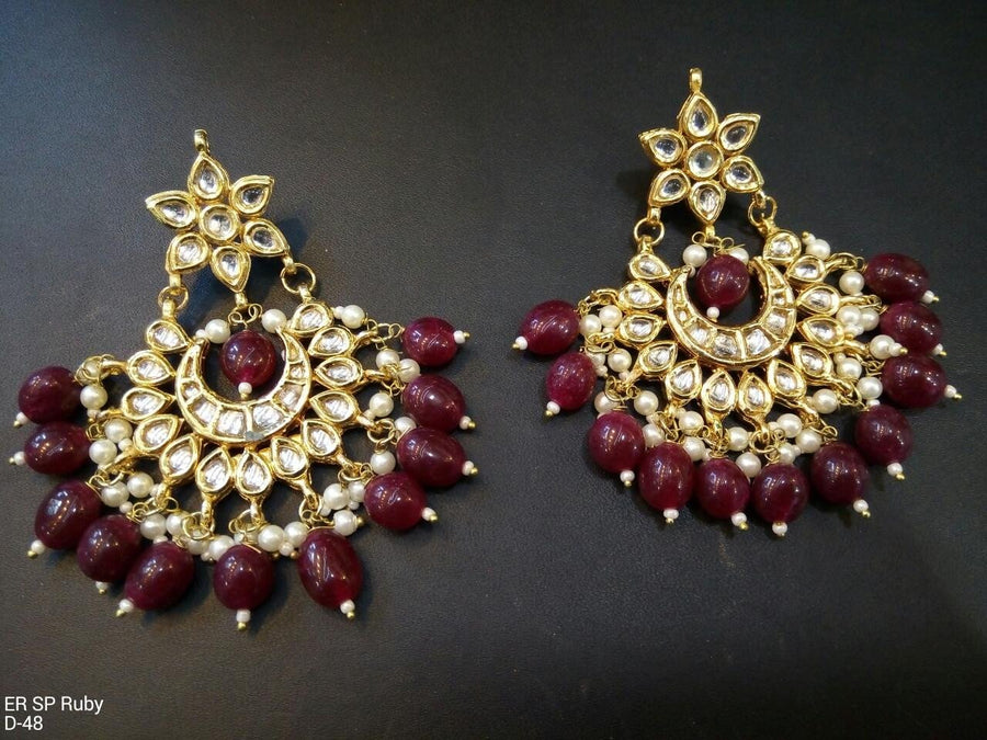 Designer Beads Ruby Chain Earrings