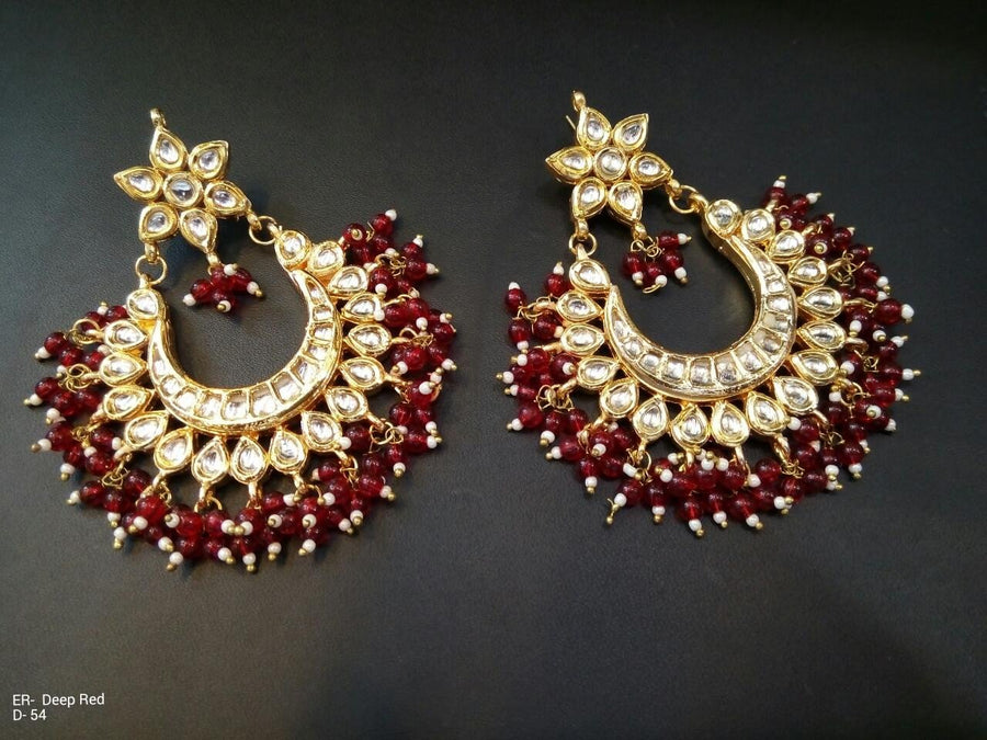 Designer Beads Deep Red Earrings