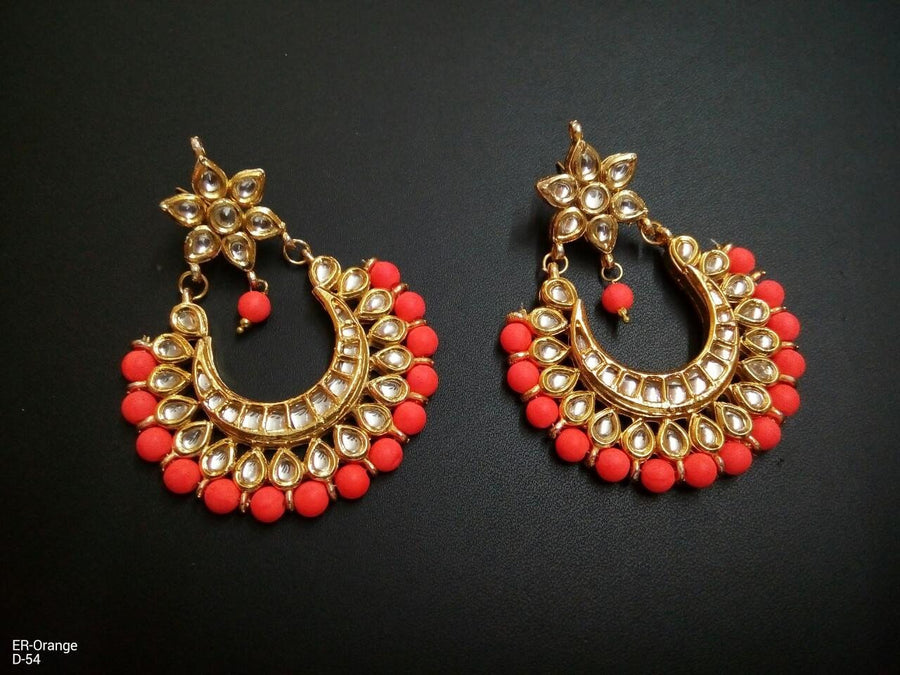 Designer Orange Beads Earrings