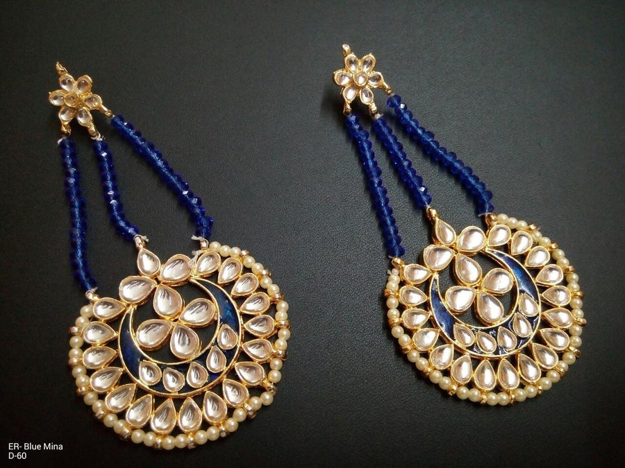 Designer Blue Beads Meena Earrings