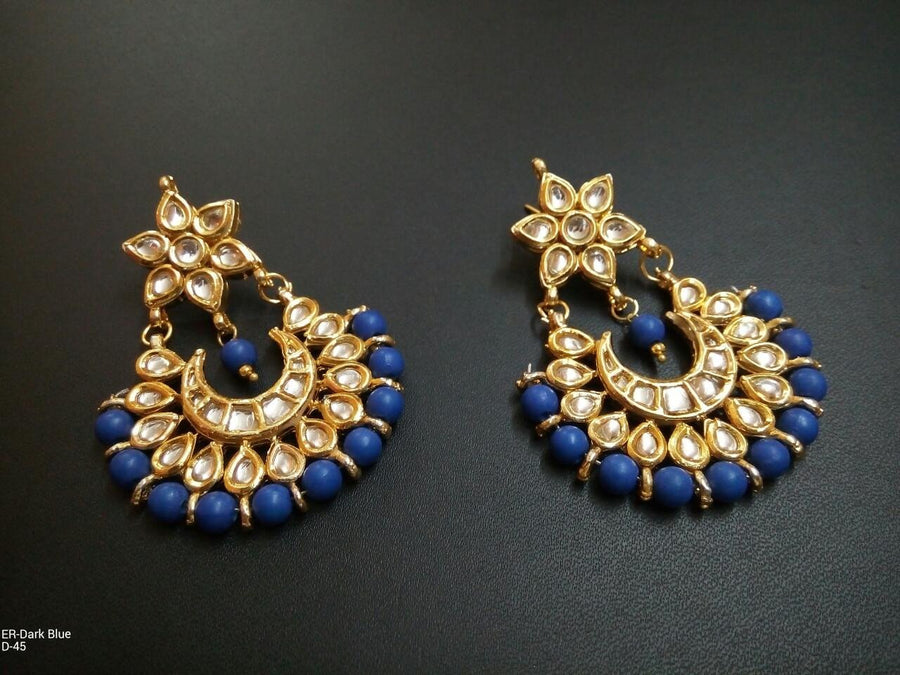 Designer Dark Blue Beads Earrings