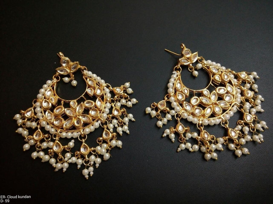 Designer Cloud Kundan Beads Earrings