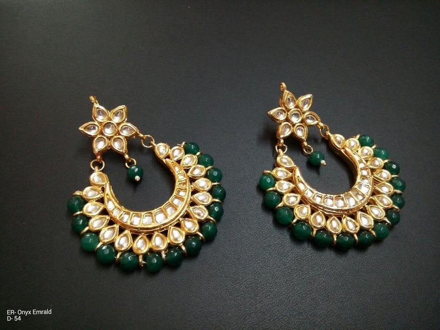 Designer Onyx Emrald Green Beads Earrings