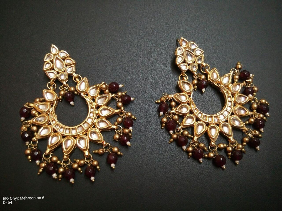 Designer Onyx Maroon Emrald Beads Earrings