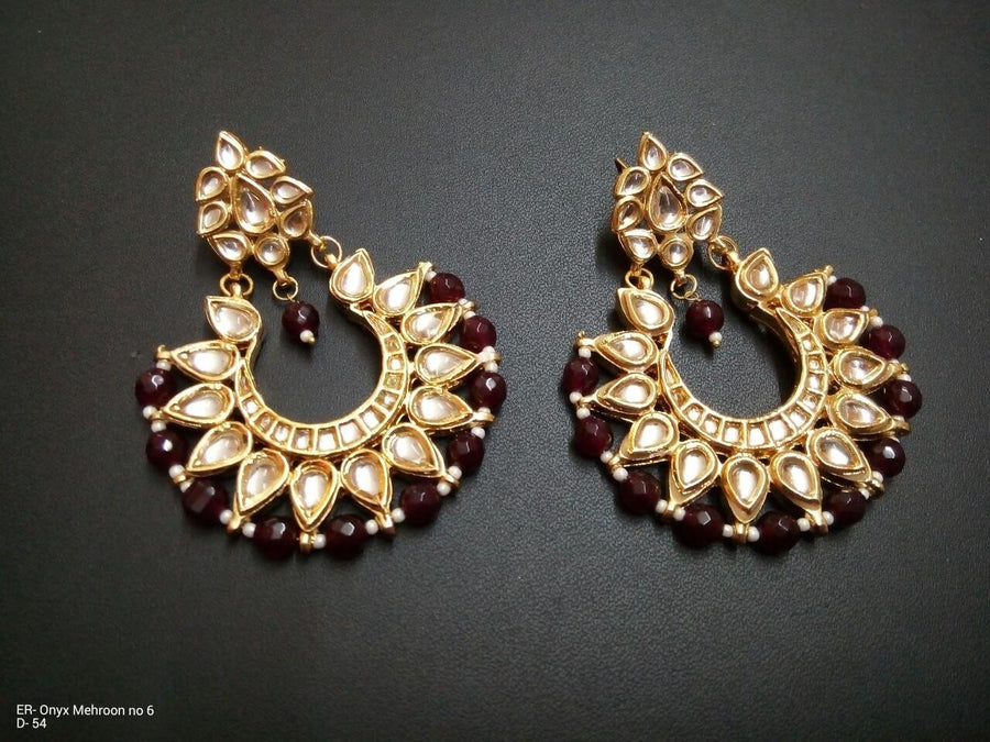 Designer Onyx Maroon Beads Earrings