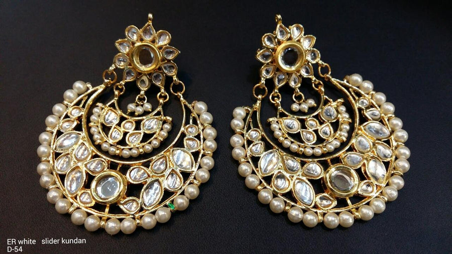 Designer Beads White Slider Kundan Earrings