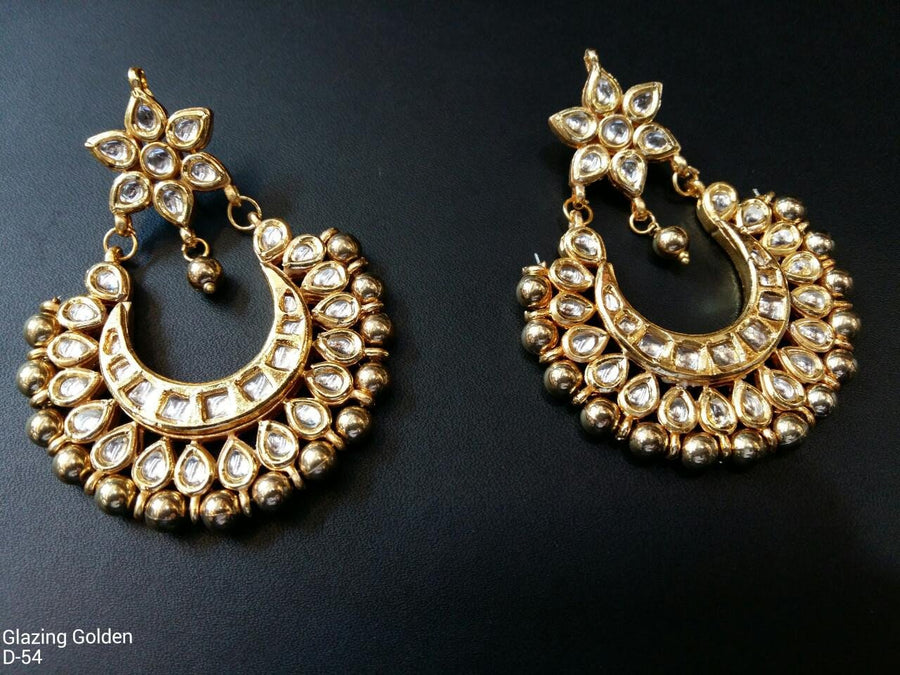 Designer Beads Glazing Golden Earrings
