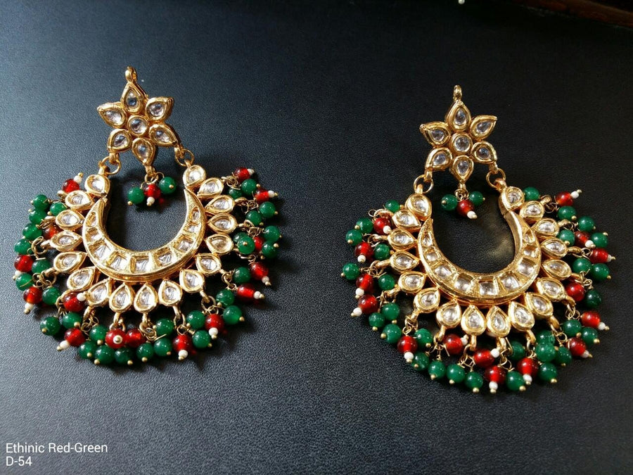 Designer Beads Ethnic Red Green Earrings