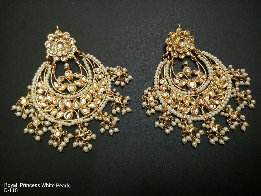 Designer Beads Royal Princess White Pearls Earrings