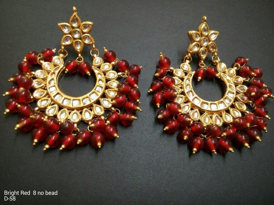 Designer 8 Beads Bright Red Earrings
