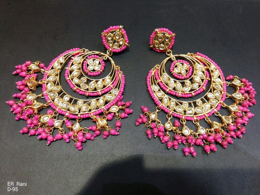 Designer 2 Ringed Rani Beads Earrings