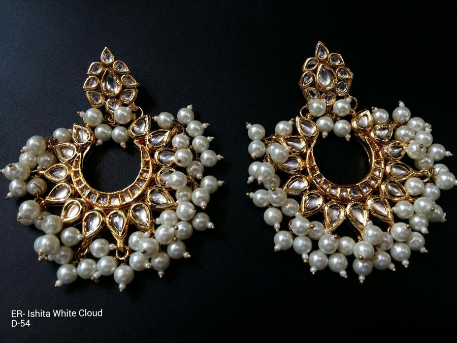 Designer Beads Ishita White Cloud Earings