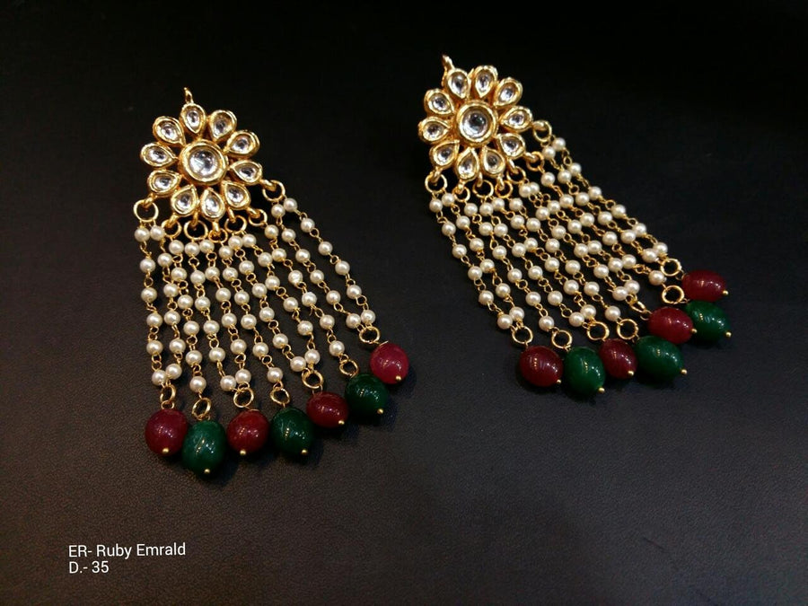 Designer Beads Ruby Emrald Earrings