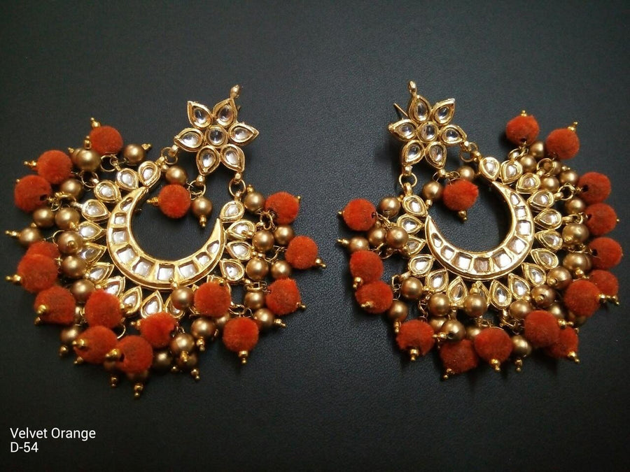 Designer Beads Velvet Orange Earrings