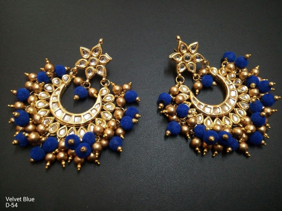 Designer Beads Velvet Blue Earrings