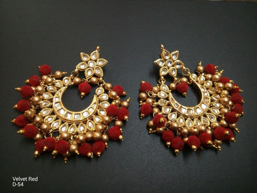 Designer Beads Velvet Red Earrings