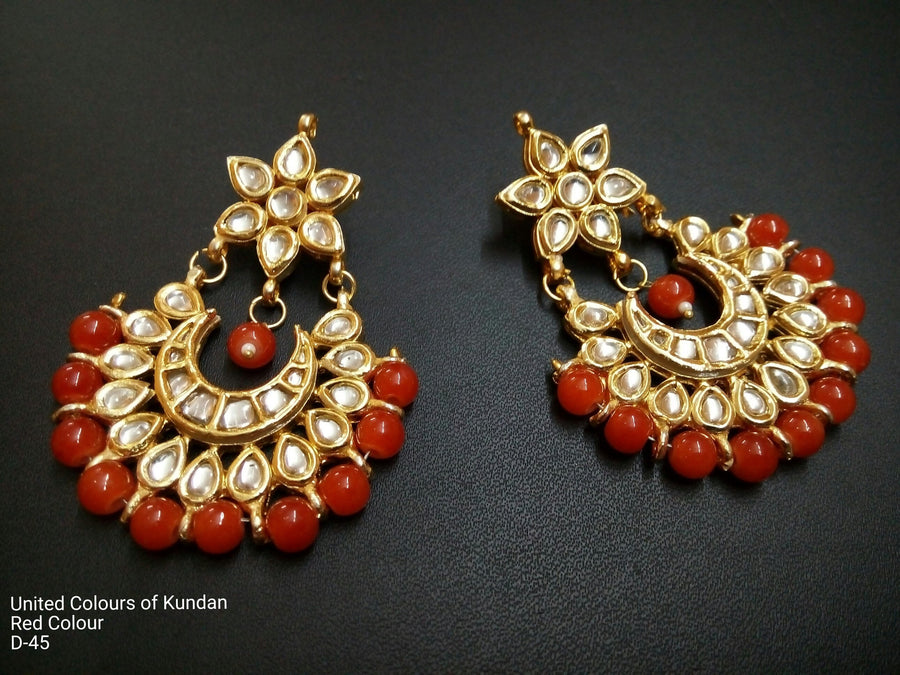 Designer Beads Red Earrings