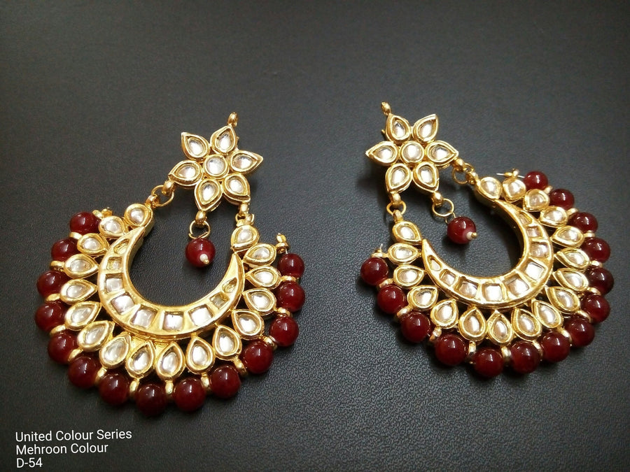 Designer Beads Maroon Earrings