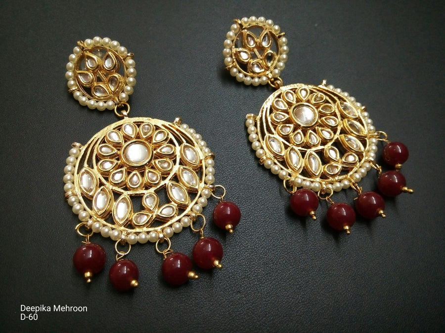 Designer Beads Deepika Maroon Earrings